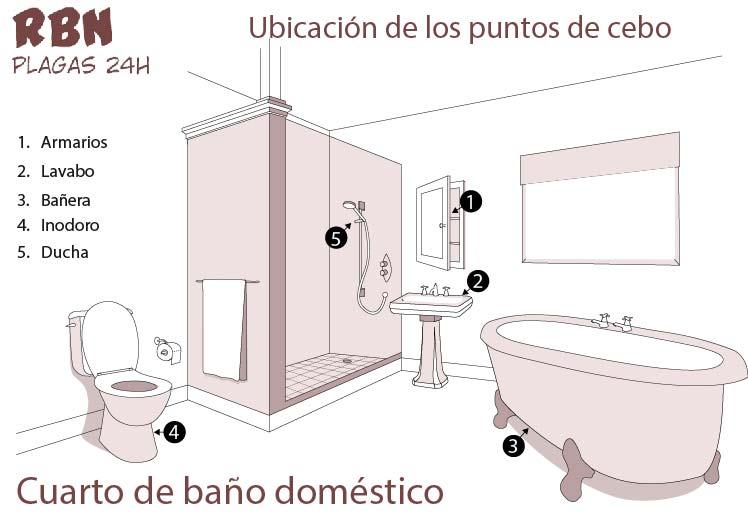 Ubicacion de los puntos de cebo baño